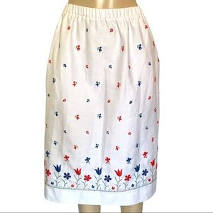 Vintage Floral Embroidery Midi Full Stretch Skirt with pockets